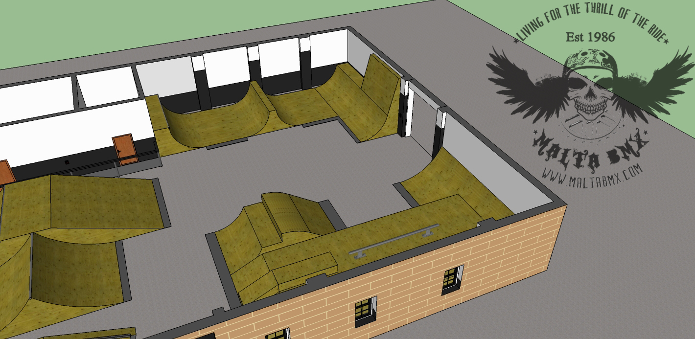 Malta s first indoor skatepark its official malta bmx for Indoor skatepark design uk